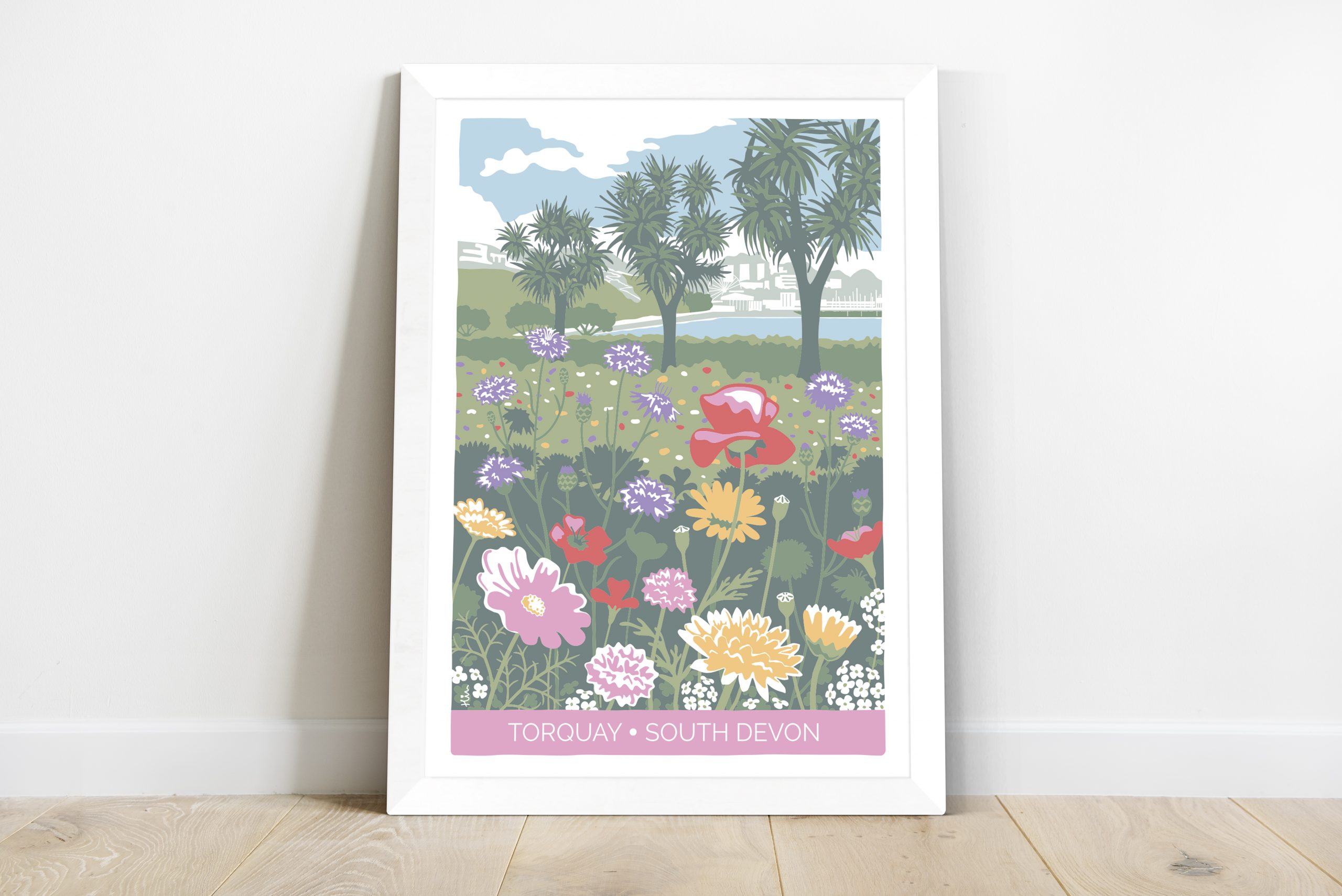 framed print of meadow flower illustration, Torquay
